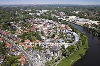 Luftaufnahme vom Deichort Meppen