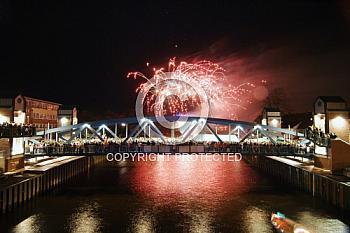 Feuerwerk über Meppener Hubbrücke