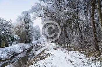 Eine verschneiter Weg an Wald und Bach