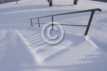 Verschneite Treppe
