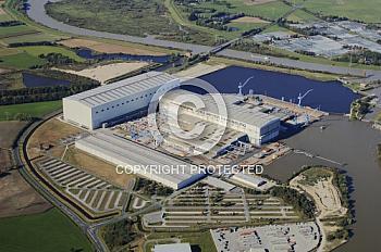 Luftaufnahme der Meyer Werft in Papenburg