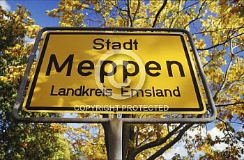 Ortsschild von Meppen