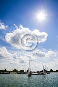 Sonne über Speicherbecken Geeste