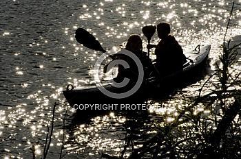 Silhouette eines Kanus